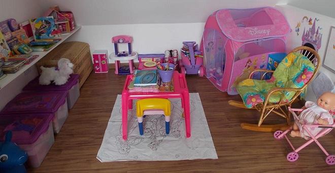 Brinquedoteca na sala de casa