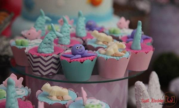 Cupcakes festa fundo do mar