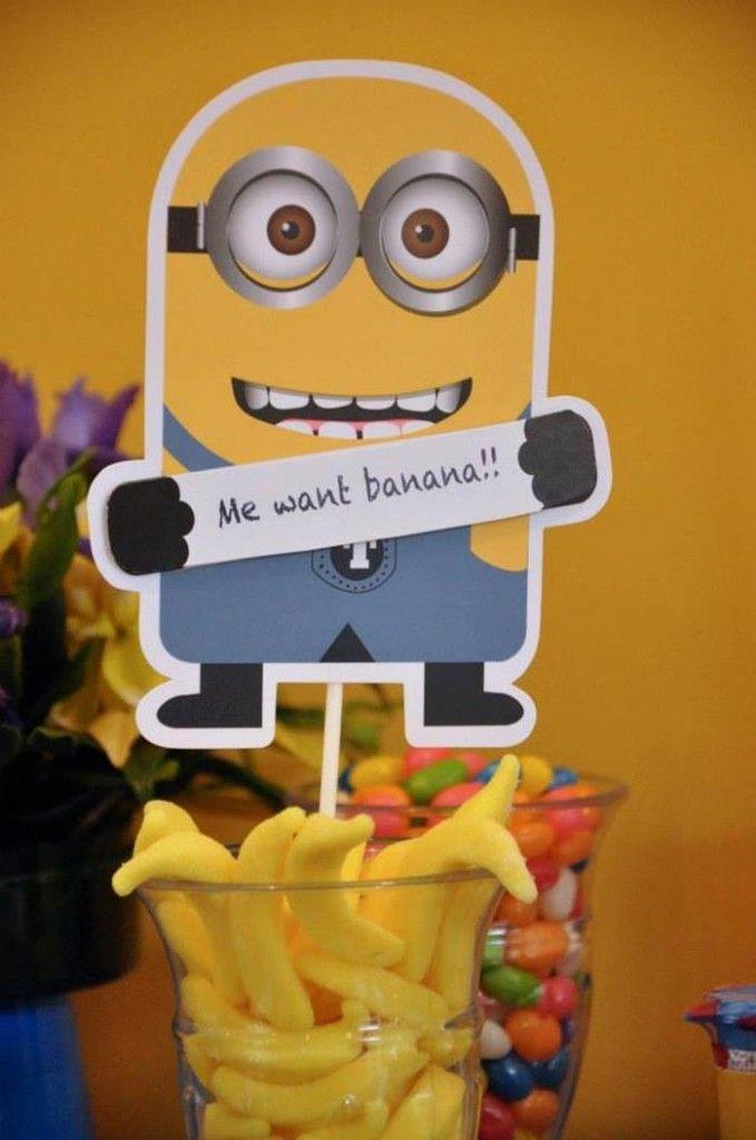 Plaquinha de Minion para festa dos Minions