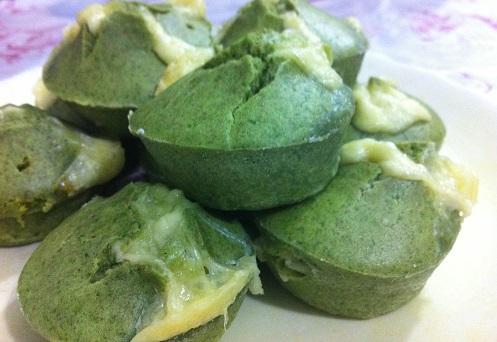 Muffin de espinafre com queijo (bolinho do Popeye)