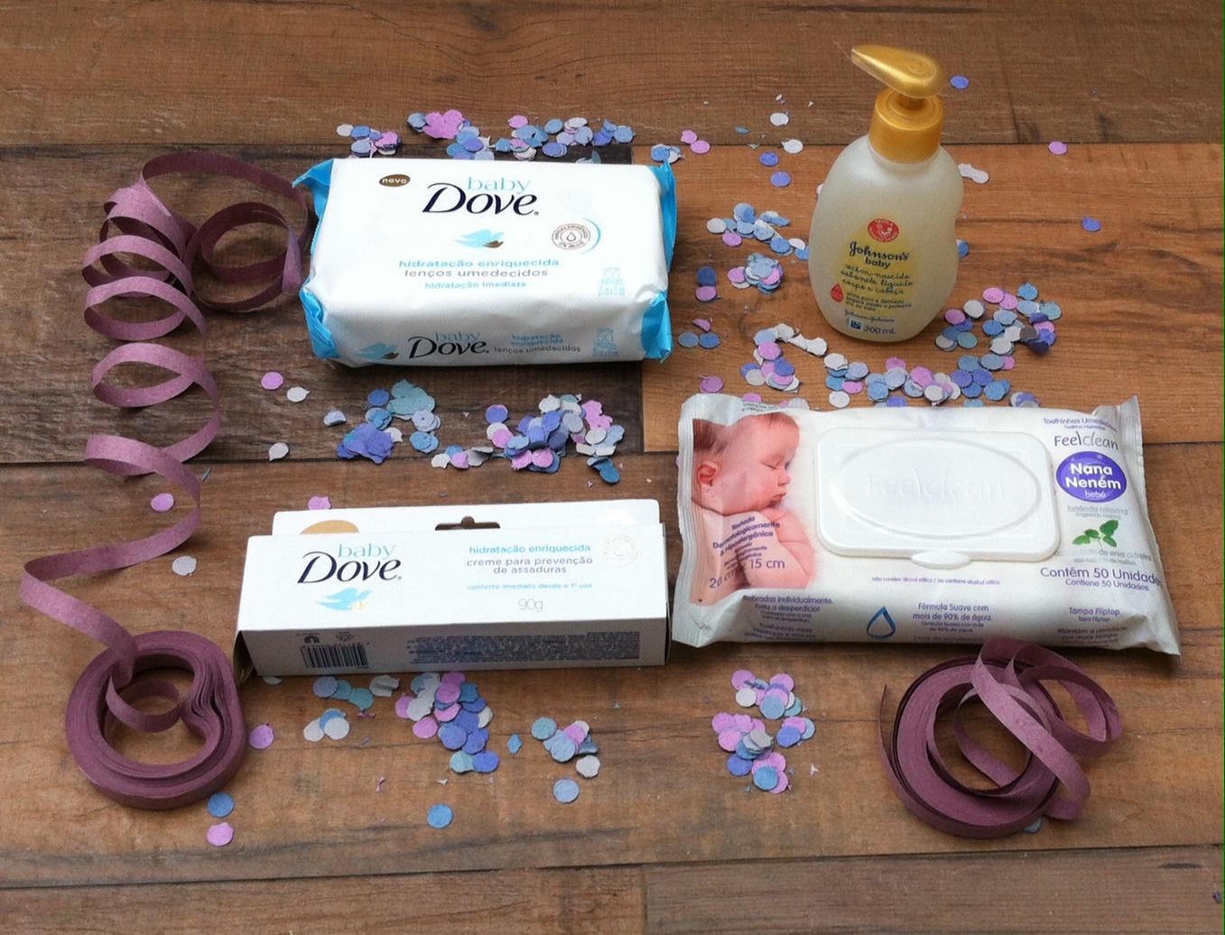 Prêmio com produtos de cuidados para bebê do blog Mamãe Prática para suas leitoras
