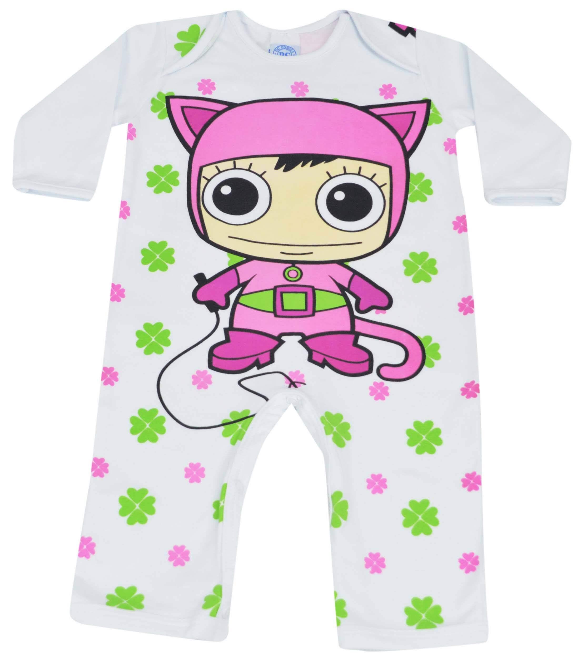 Pijama infantil de macacão com estampa de Mulher Gato da loja virtual Pijamas for you