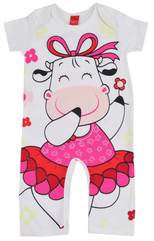 Pijama de macacão para meninas com estampa de vaquinha da loja virtual Pijamas for you