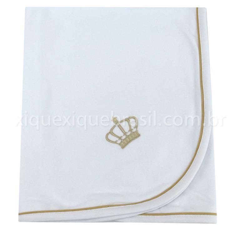 Manta (com bordado de coroa na cor bege)