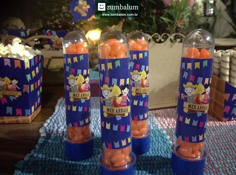 Tubetes personalizados no tema festa junina infantil