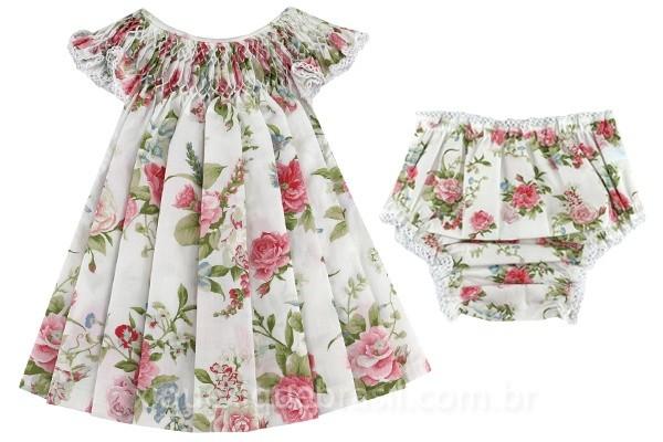 Vestido infantil com bordado casinha de abelha (com calcinha coordenada)