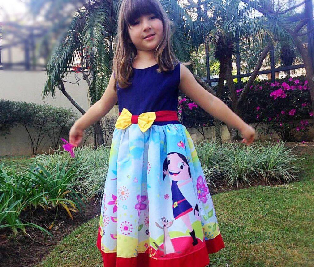 Vestidos infantis de Festa no tema Show da Luna para aniversário